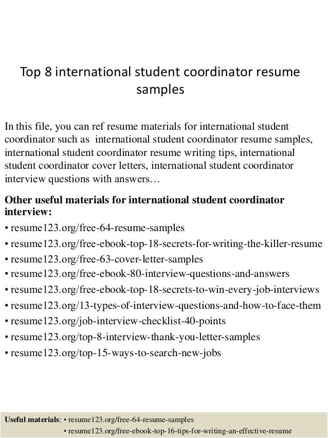 top 8 international student coordinator resume samples