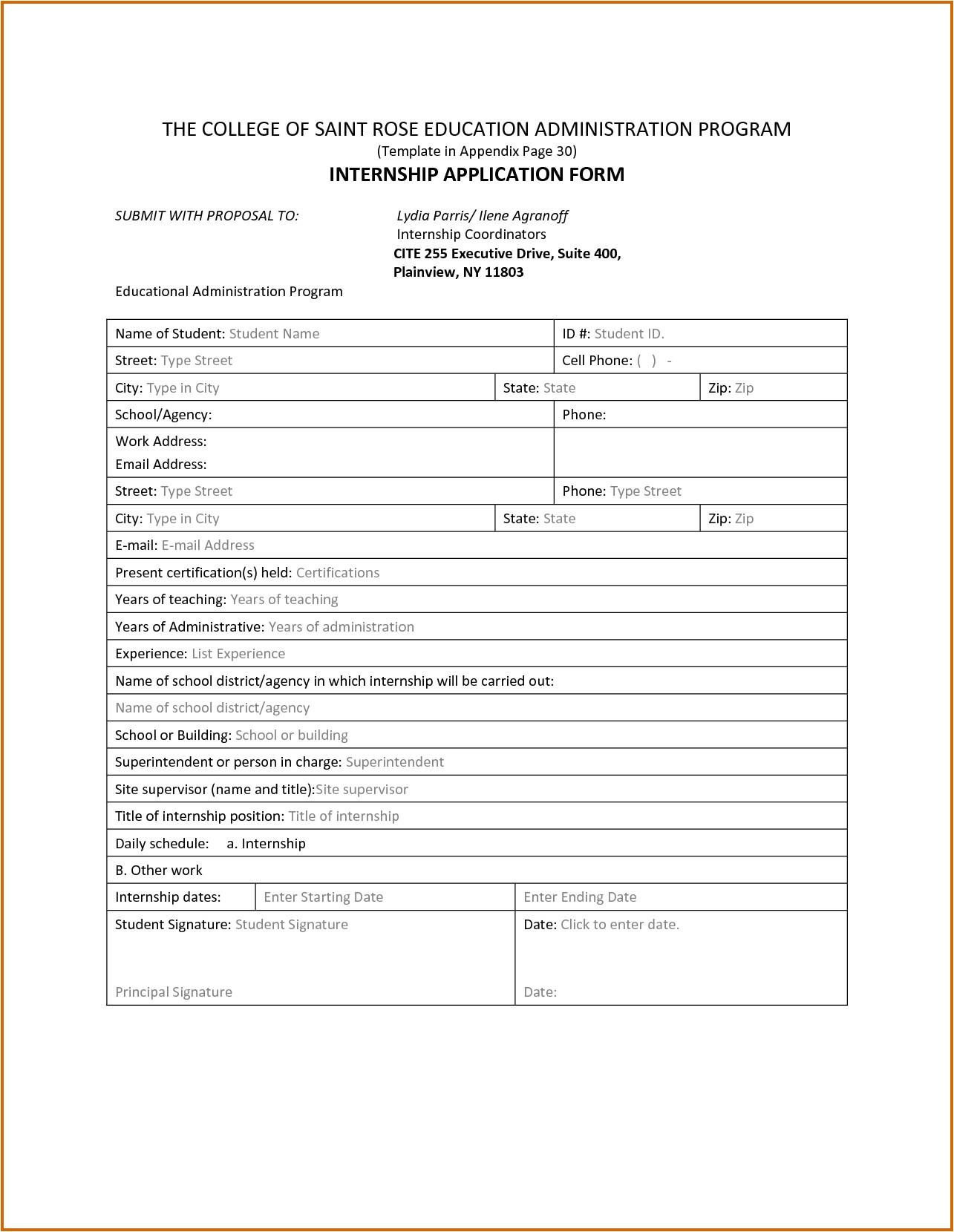 7 internship application sample