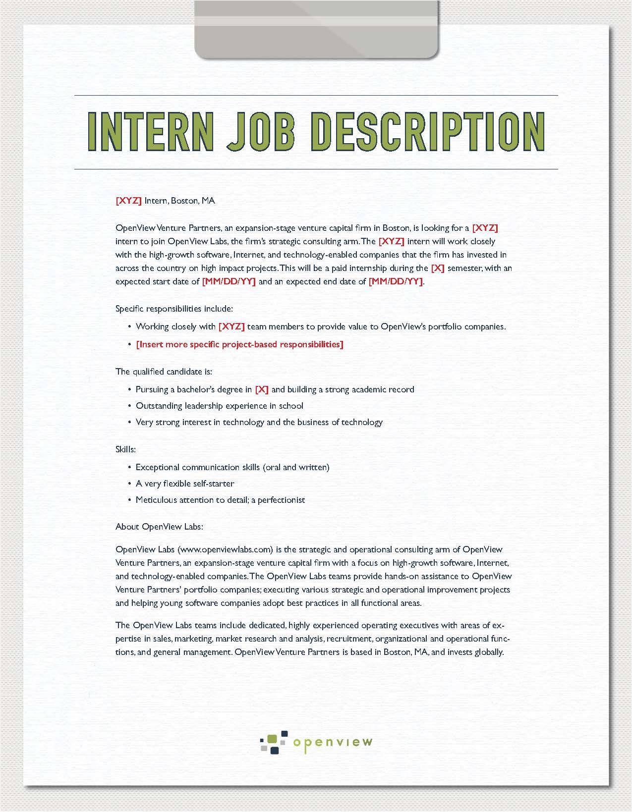 intern job description template
