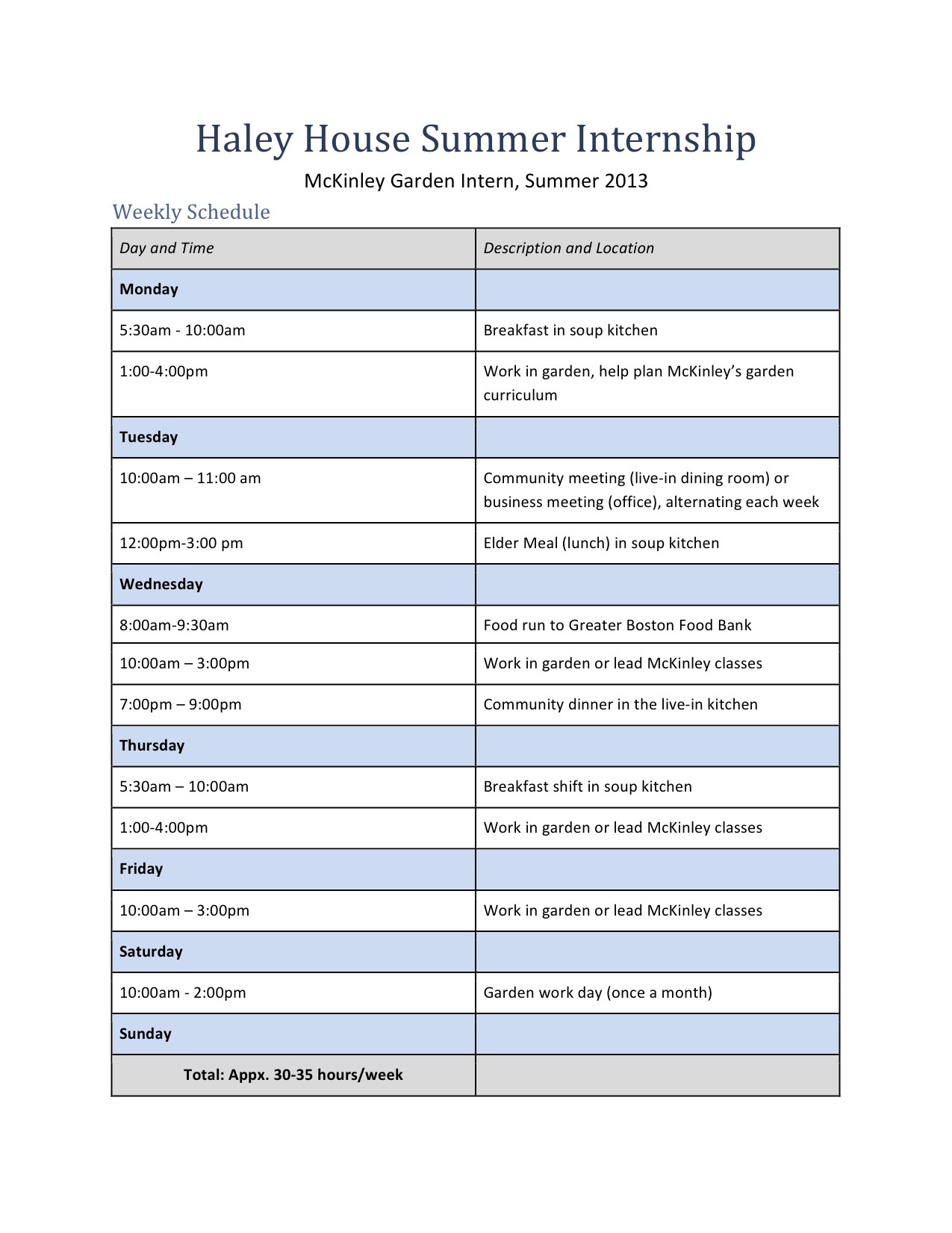 Internship Schedule Template Internships Haley House