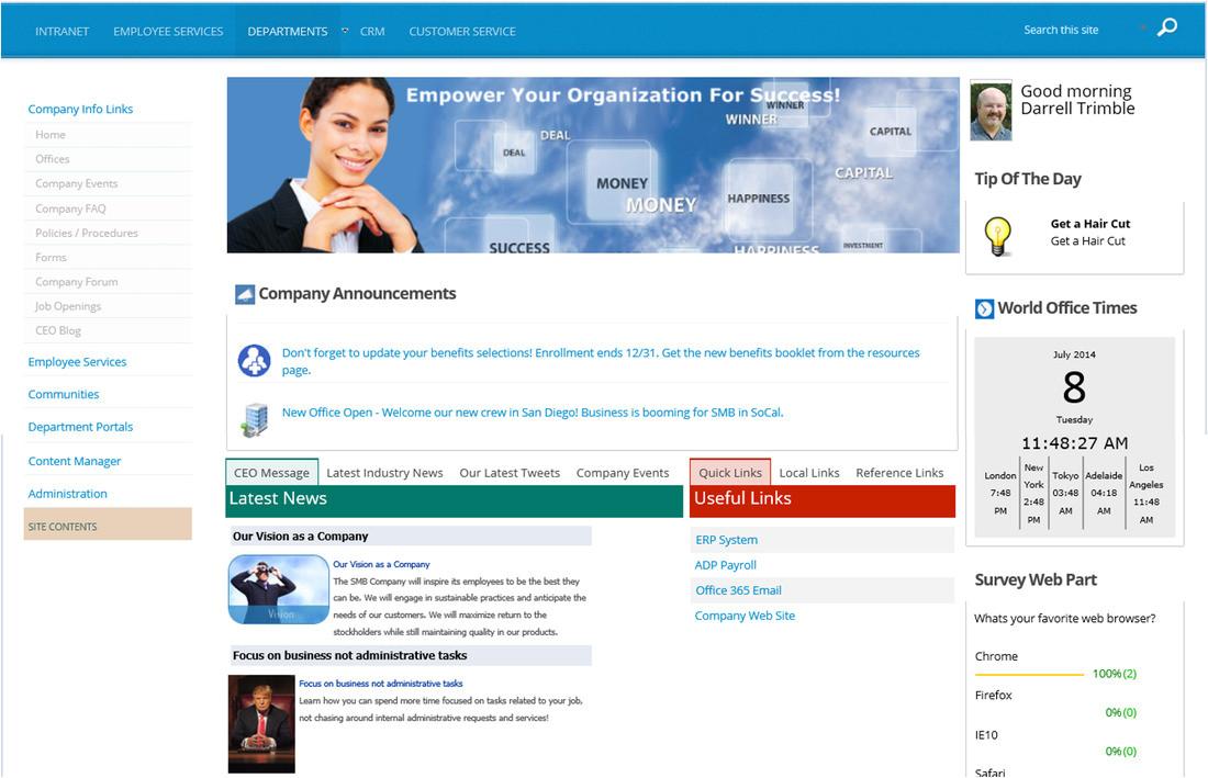 corporate intranet portal templates