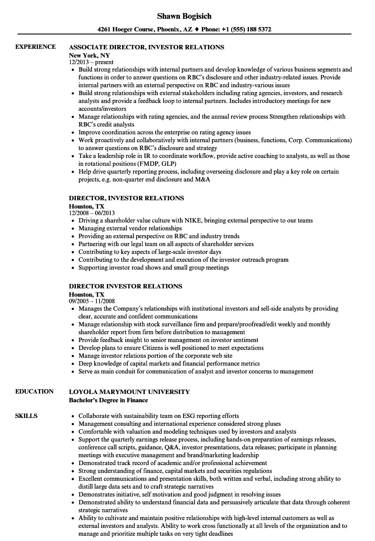 director investor relations resume sample
