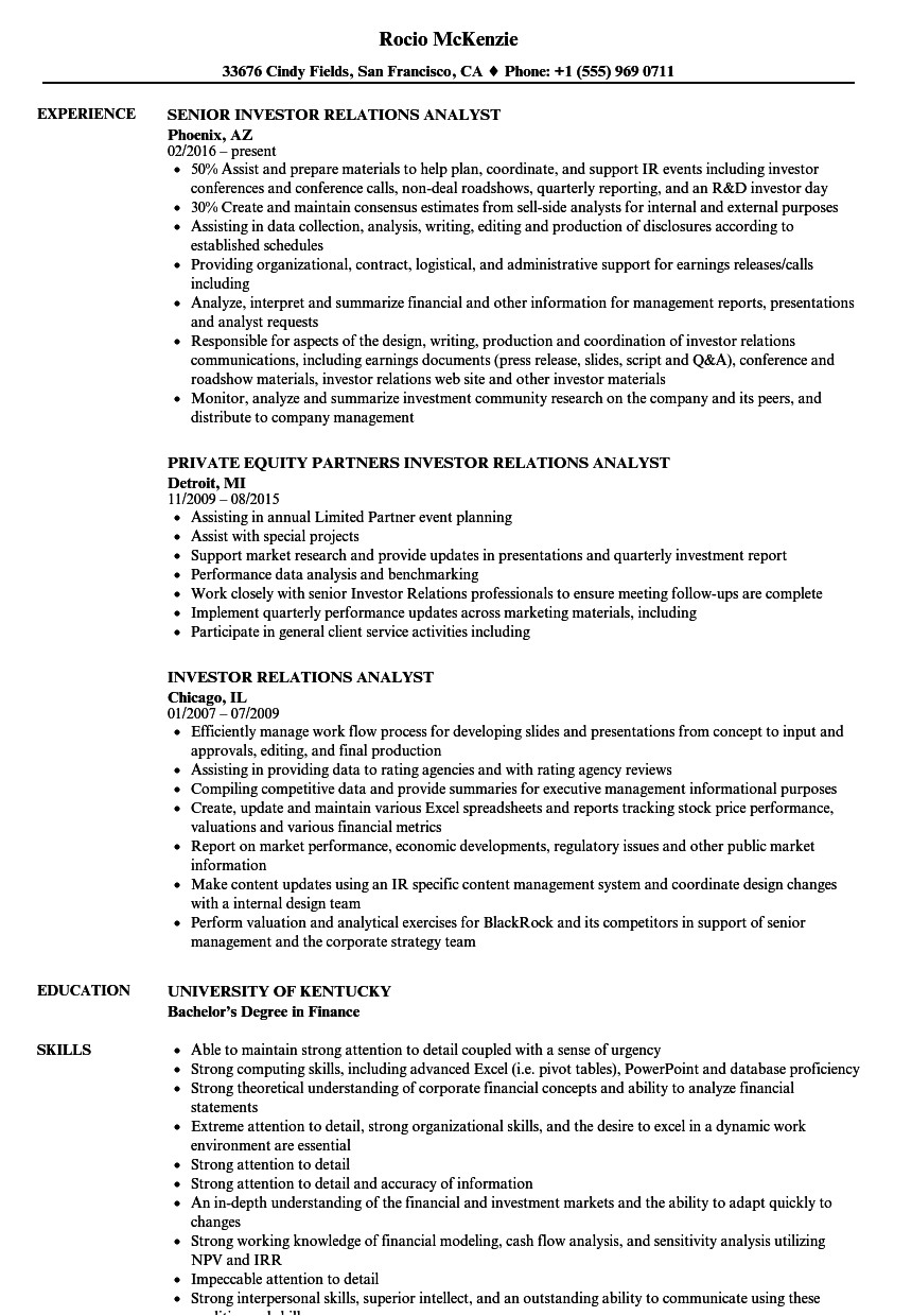 investor relations analyst resume sample