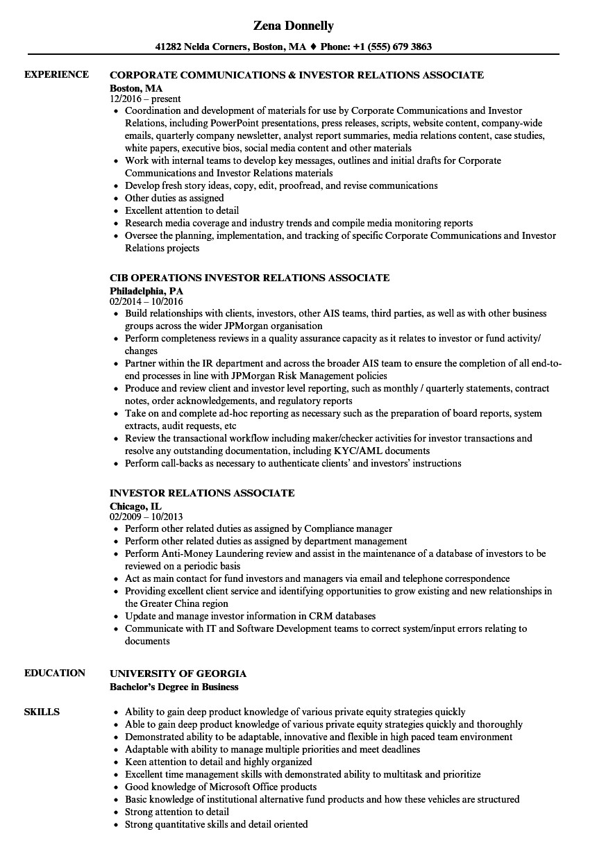 investor relations associate resume sample