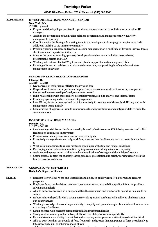 Investor Relations Resume Sample Investor Relations Manager Resume Samples Velvet Jobs