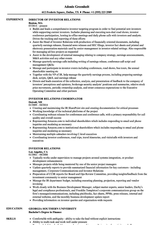investor relations resume sample