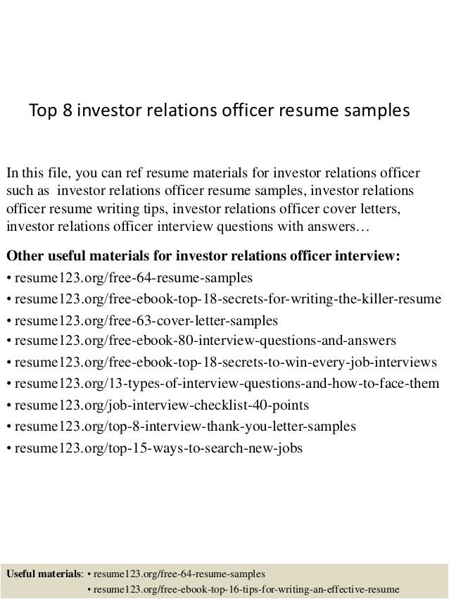 top 8 investor relations officer resume samples