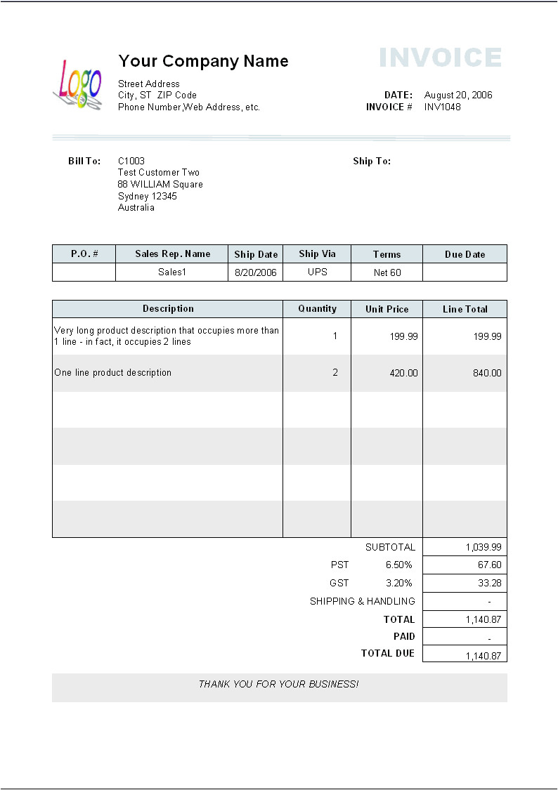 invoice sample long description
