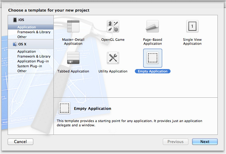 xcode project templates difference