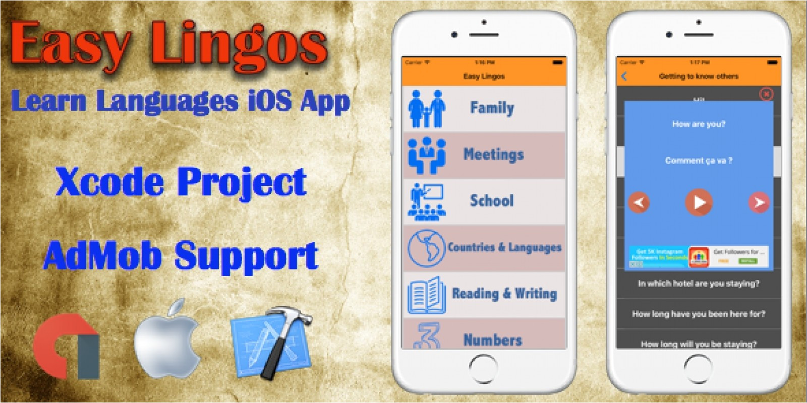 easy lingos ios xcode app template