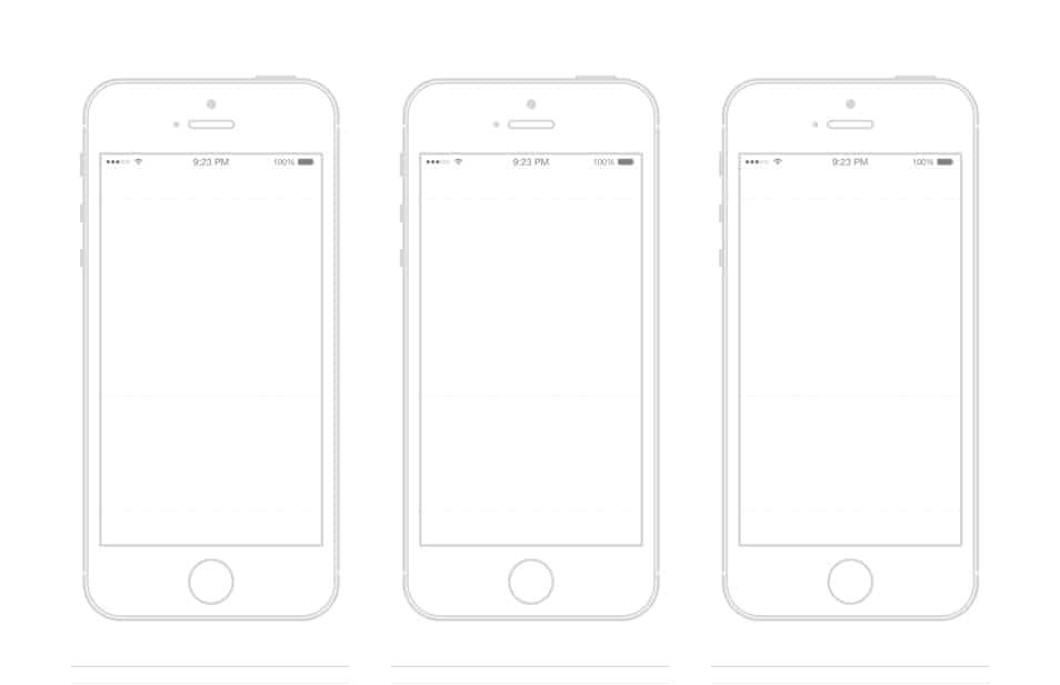 iPhone Wireframe Template Illustrator 25 Outline Mockups for Wireframing Presentation