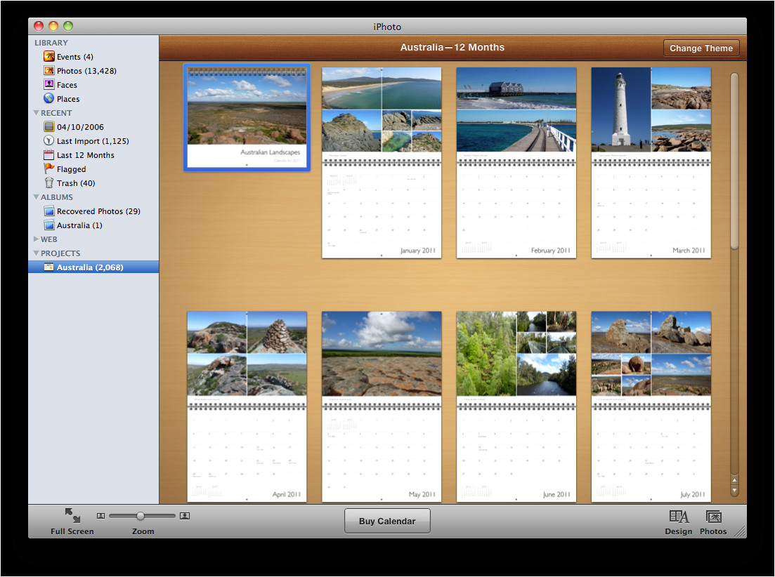 Iphoto Calendar Templates Iphoto 11 Book themes