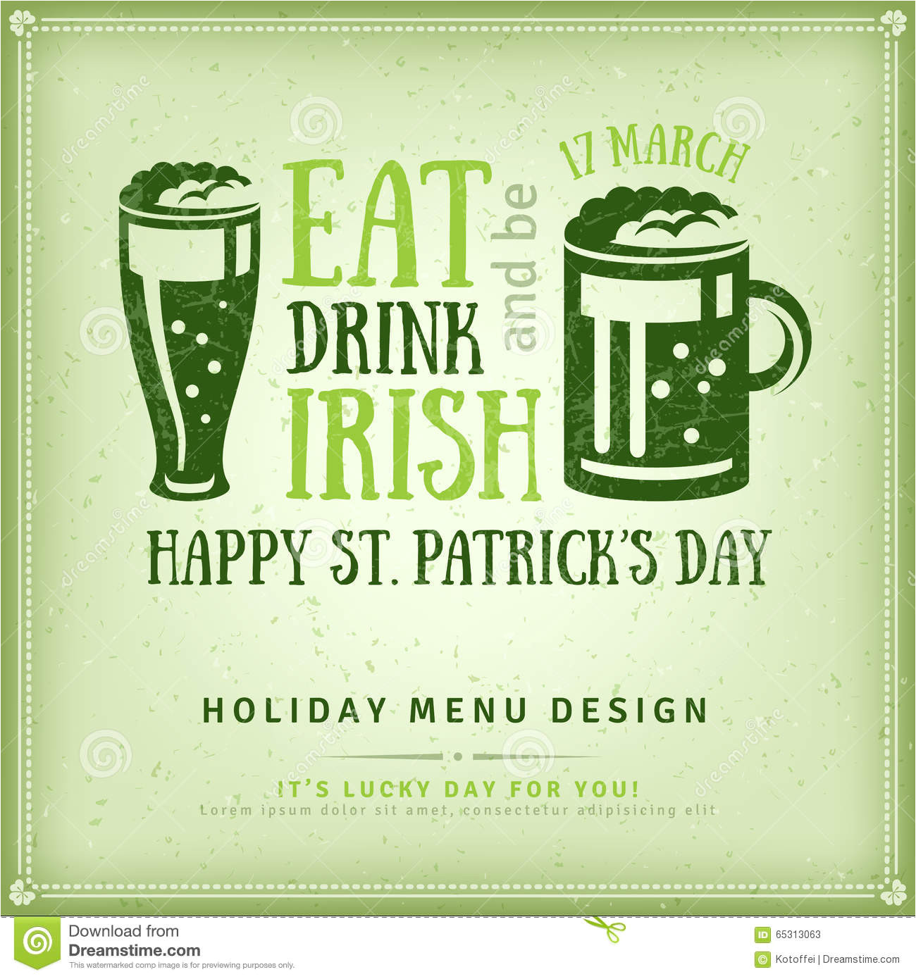 stock illustration beer party invitation irish typography emblem happy st patrick s day greeting card flyer vector illustration typographic image65313063