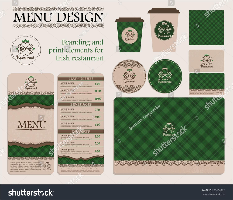 stock vector branding and print elements for irish restaurant or cafe template for branding identity restaurant