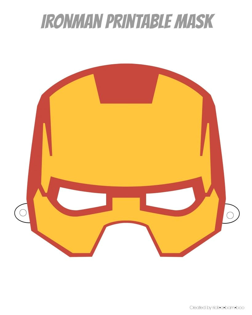 Ironman Mask Template Free Printable Hero Masks Iron Man Birthday Pinterest