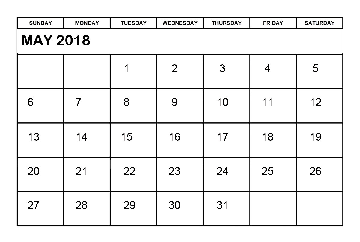 Is there A Calendar Template In Word May 2018 Calendar Word Printable