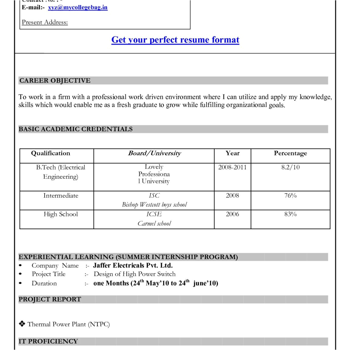 is there a resume template in microsoft office 2010