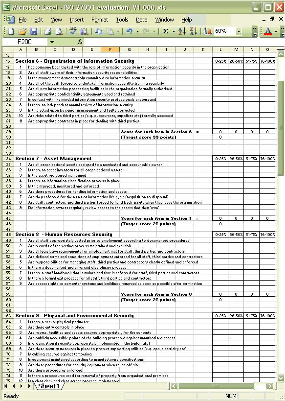 Iso 27001 Risk assessment Template iso 27001 Benchmark Spreadsheet