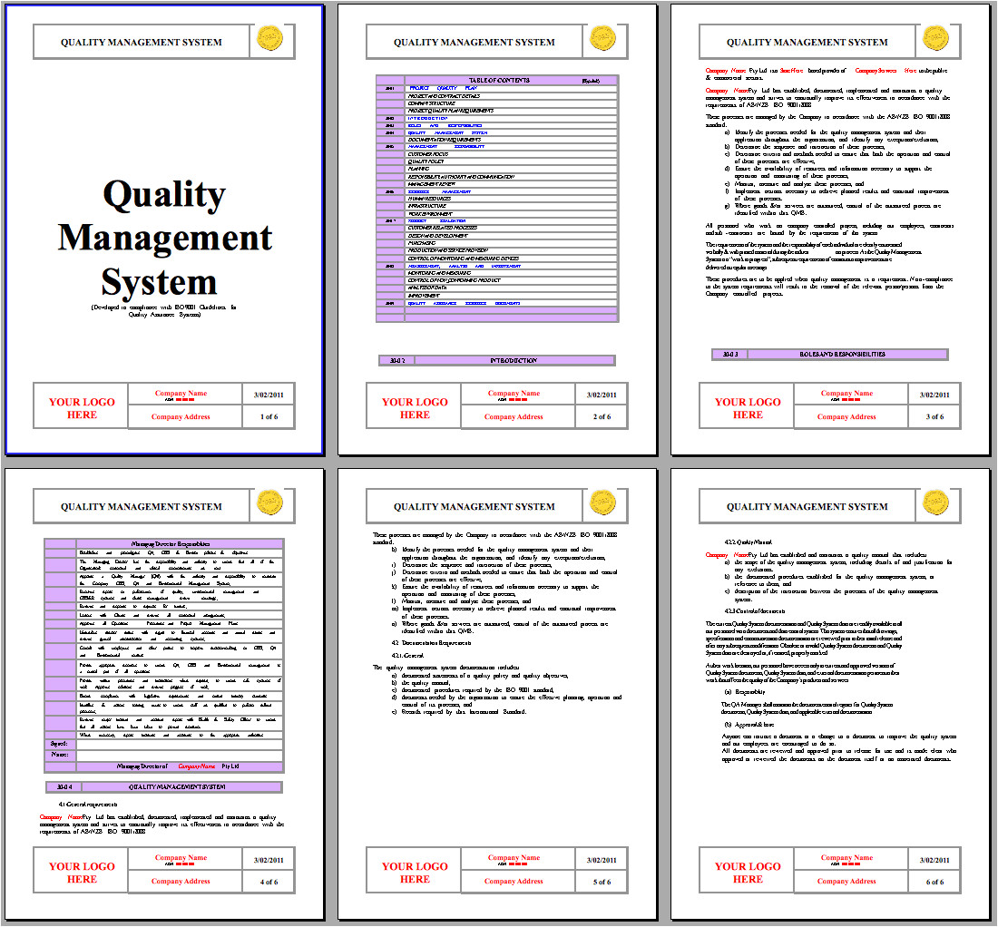 example of a quality assurance manual