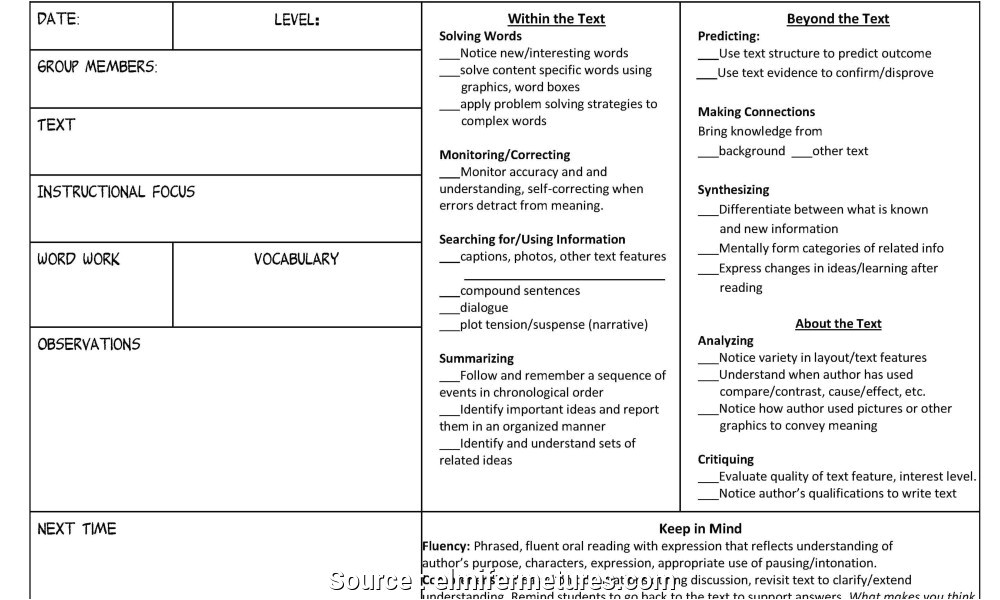 guided reading lesson plan template 3rd grade