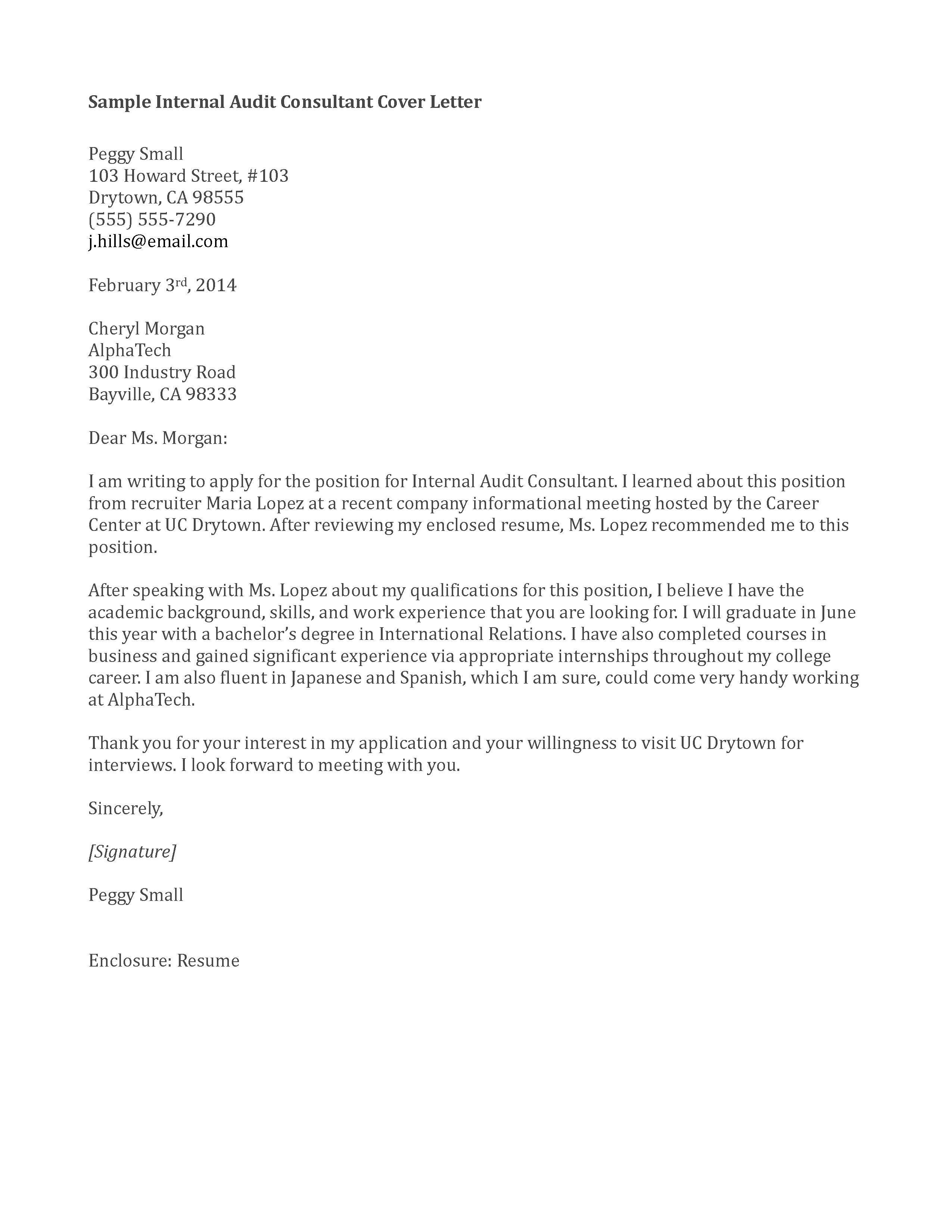 cover letter sample internal