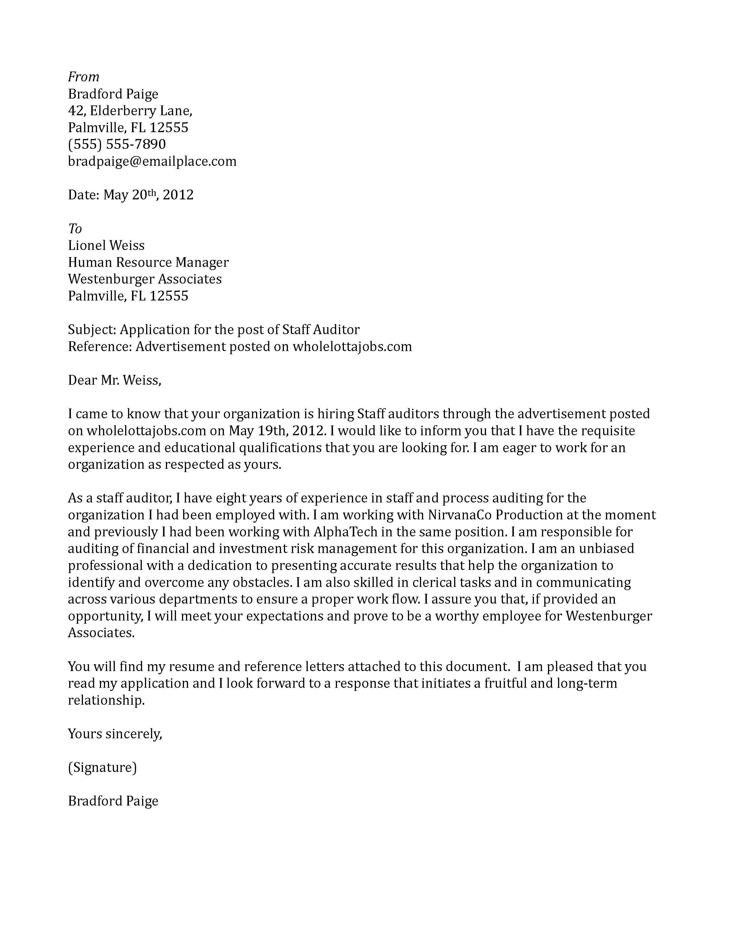 cover letter samples auditor