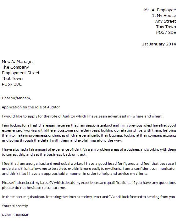audit cover letter
