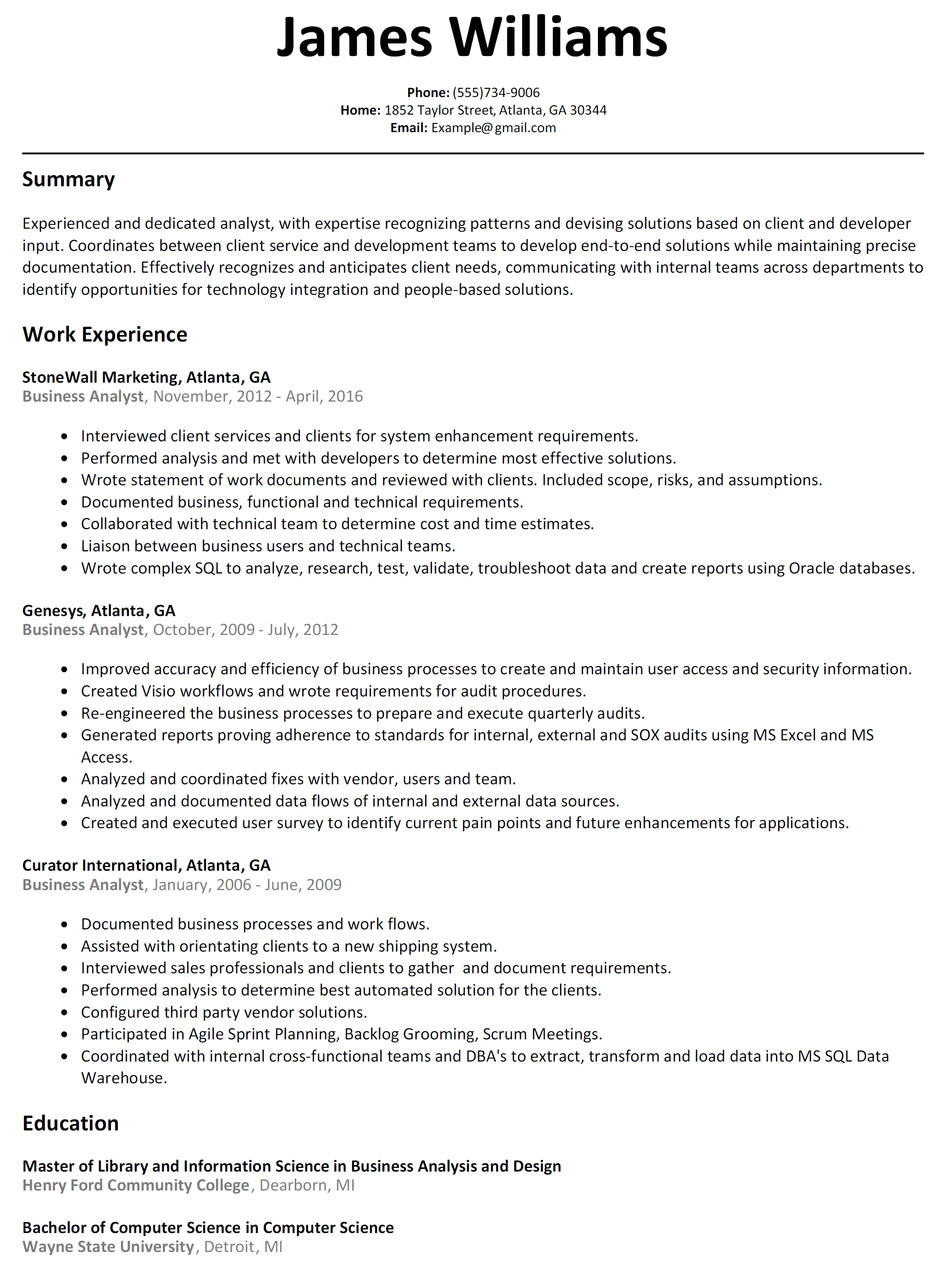 It Business Analyst Resume Samples with Objective Business Analyst Resume Sample Resumelift Com