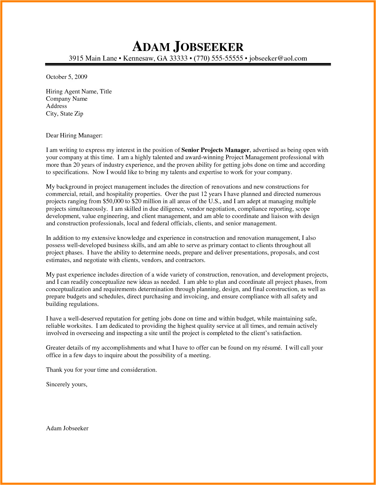 10 it project manager cover letter sample