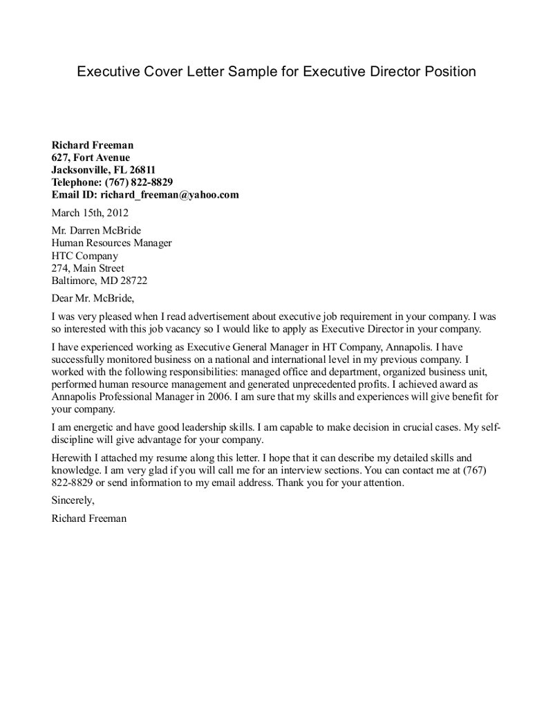 It Director Cover Letter Samples Executive Cover Letter Samples Director the Letter Sample