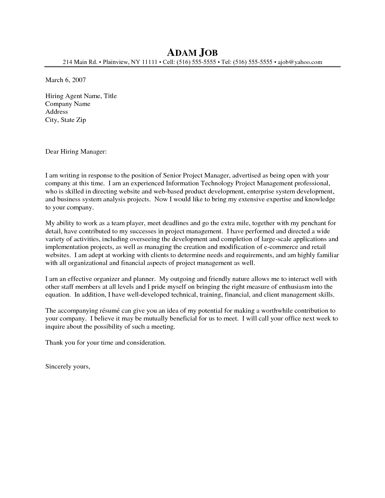sample cover letter for it project manager position