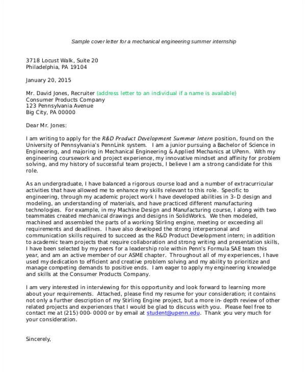It Intern Cover Letter 9 Internship Cover Letter Free Sample Example format