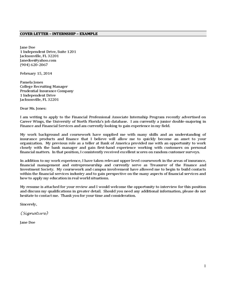 It Intern Cover Letter Cover Letter Internship Example Free Download