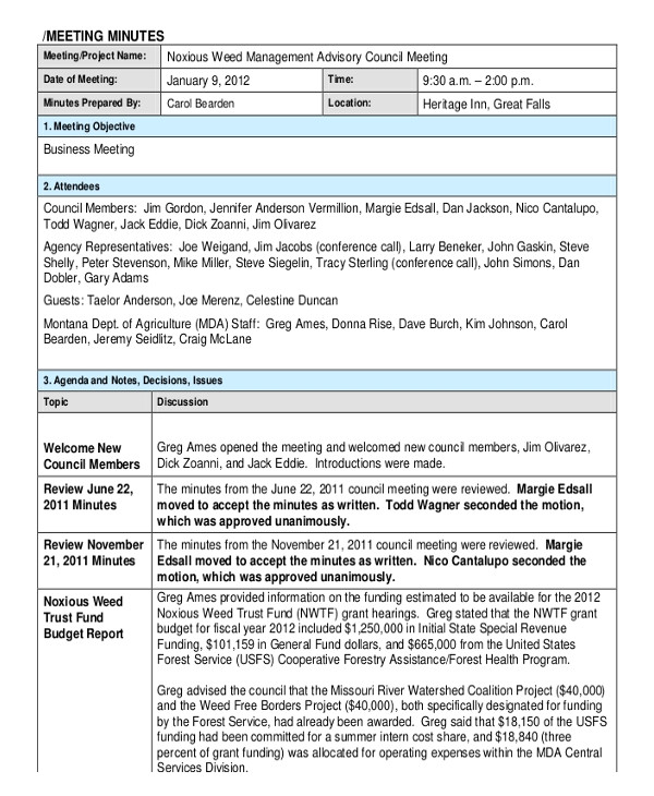 It Meeting Minutes Template 18 Corporate Minutes Template Free Sample Example