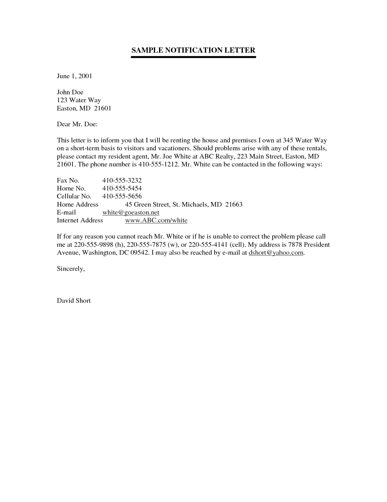 post examples of notification letters 449026