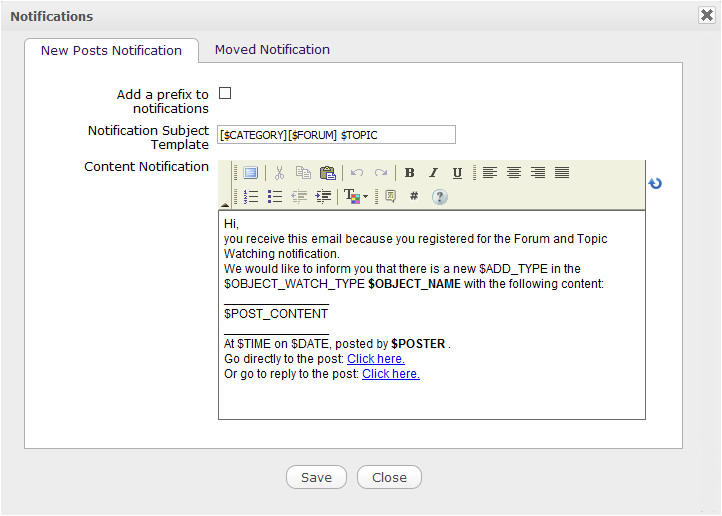 forum administrator administrative tasks customize email template