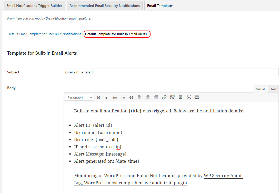 edit email templates email notifications add