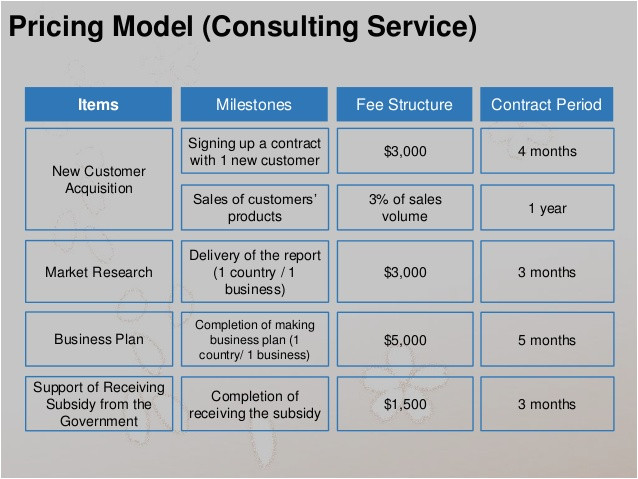 10 pricing model consulting serviceitems fee