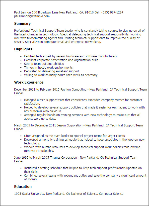 technical support team leader