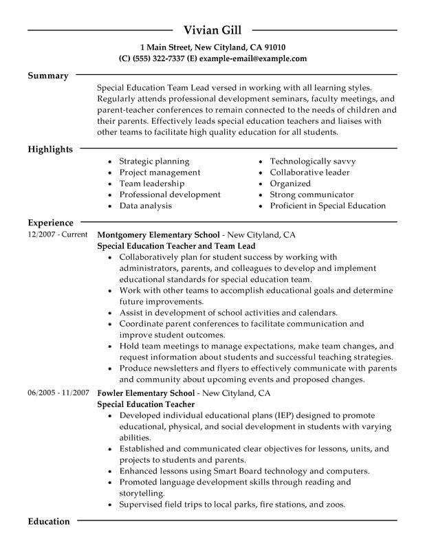 team lead resume sample
