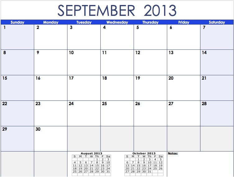 2013 monthly calendar template