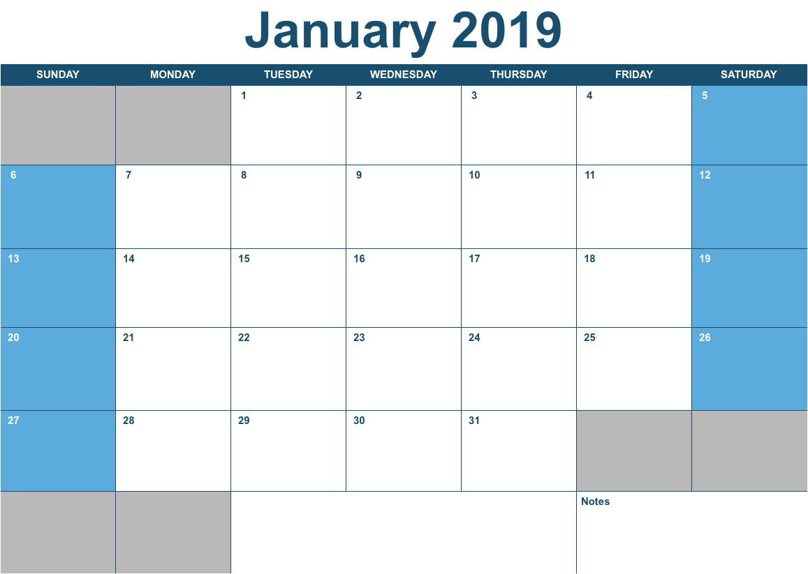 2019 horizontal monthly calendar template numbers