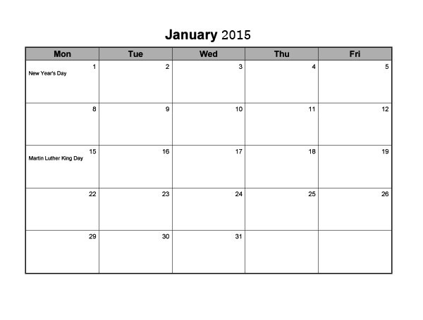 monthly calendar template for 2015