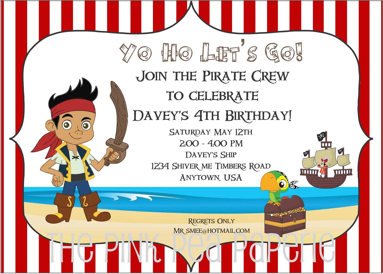 jake and the neverland pirates birthday invitations