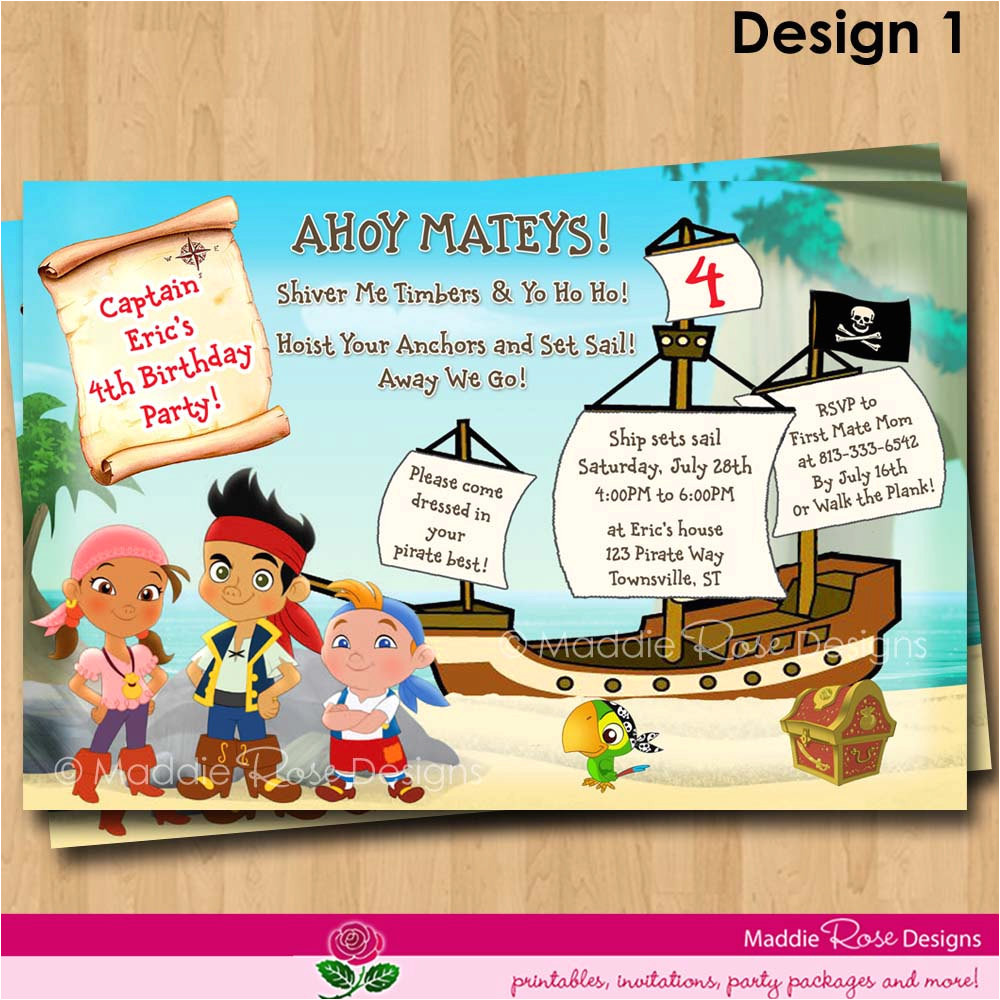 Jake and the Neverland Pirates Birthday Invitation Template Jake and the Neverland Pirates Birthday Invitations