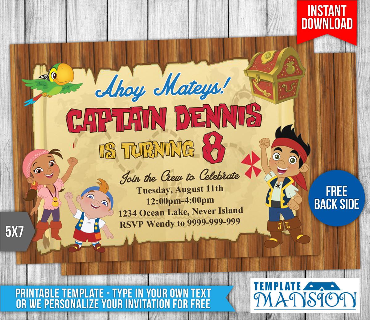 jake and the neverland pirates invitation 2 554099937