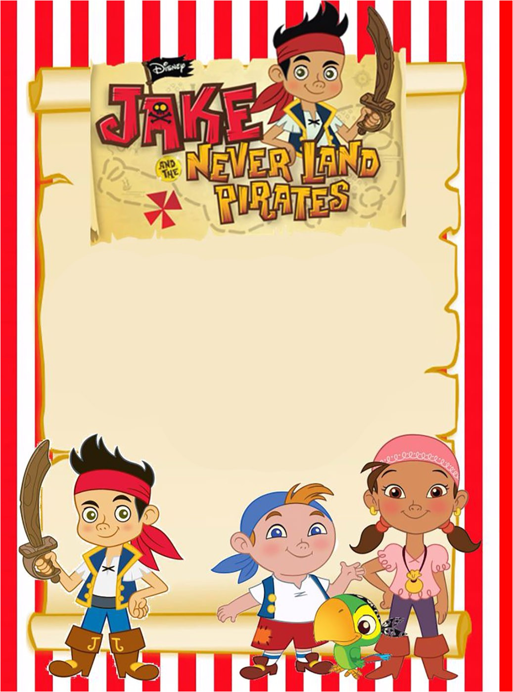 printable jake and neverland pirates invitation template