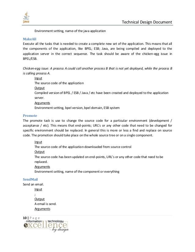 Java Design Document Template Java Technical Design Document