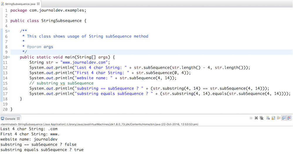 java string subsequence example