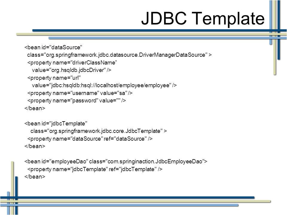 Jdbc Template In Spring Spring Jdbc Template Tutorial Java Code Review Template 15